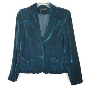 Tribal Plush Velvet Teal Blazer Jacket